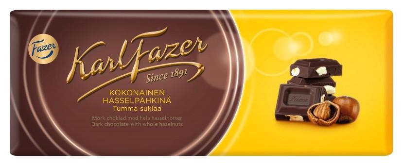 Шоколад Karl Fazer темный шоколад с цельным фундуком, 200г  Fazer