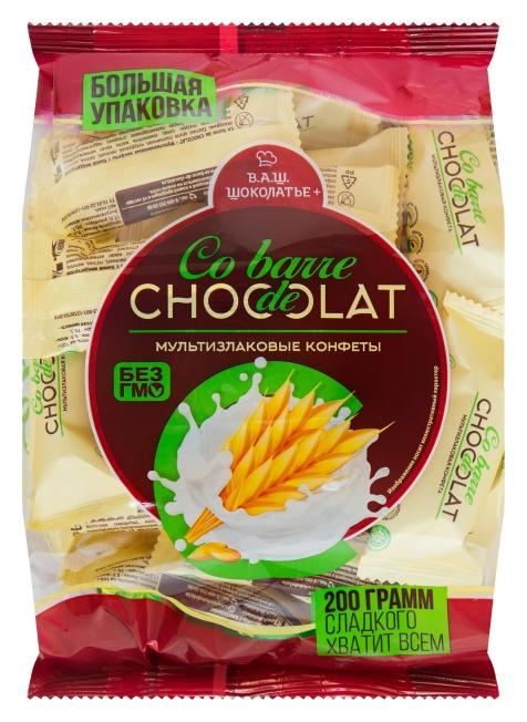 Конфеты Co Barre De Chocolat мультизлак. с белой кондитер.глазурью, 200г Co barre de Chocolat