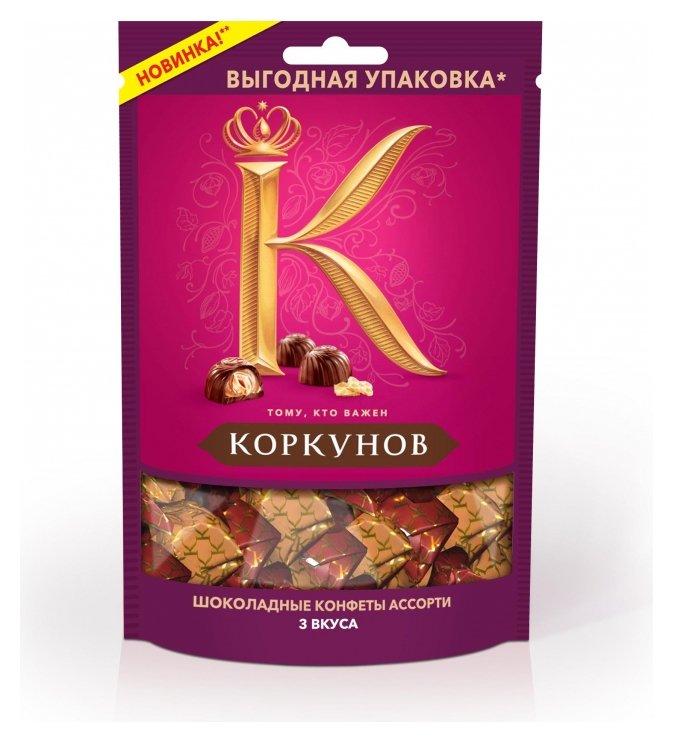 Конфеты шоколадные а.коркунов молочный и темный шоколад, 118г А.коркунов