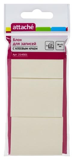 Блок-кубик Attache с клеев.краем 38х51 желтый 100л. 3 шт/наб.  Attache
