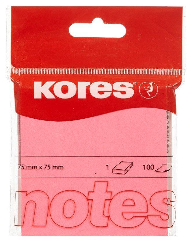 Блок-кубик Kores бум.для зам. 75х75 неоновая розовая 100л. ?47075  Kores