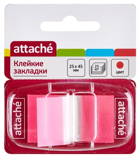 Клейкие закладки пласт. 1цв.по 25л. 25ммх45 розов.attache  Attache