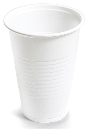 Стакан одноразовый 200мл белый для хол/гор., эконом, комус ПП 100шт/уп Комус