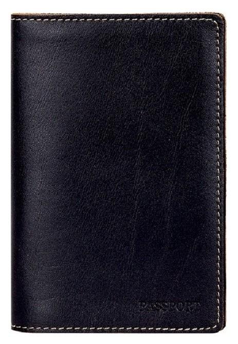 Обложка для паспорта Fabula O8tx техас натуральная кожа черный  Fabula