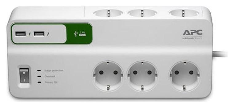 Сетевой фильтр APC Pm6u-rs (6 евро/2м/10а/1836дж/usb/белый)  Apc