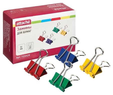 Зажим для бумаг Attache, 51 мм, 12 шт., цветные, в карт.коробке  Attache
