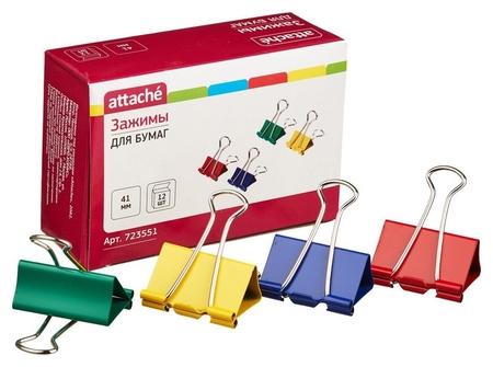 Зажим для бумаг Attache, 41 мм, 12 шт., цветные, в карт.коробке  Attache