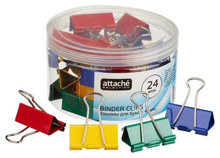 Зажим для бумаг Attache Selection, 41мм, 24 шт, цветные, пласт.уп  Attache