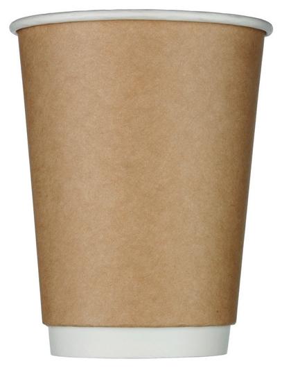 Стакан одноразовый бум двухслойный D-90мм 300мл коричневый (25шт/уп)  Комус