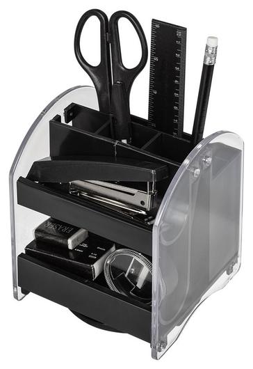 Набор настольный Attache прозрачный/черный, 10 предметов, вращающийся  Attache