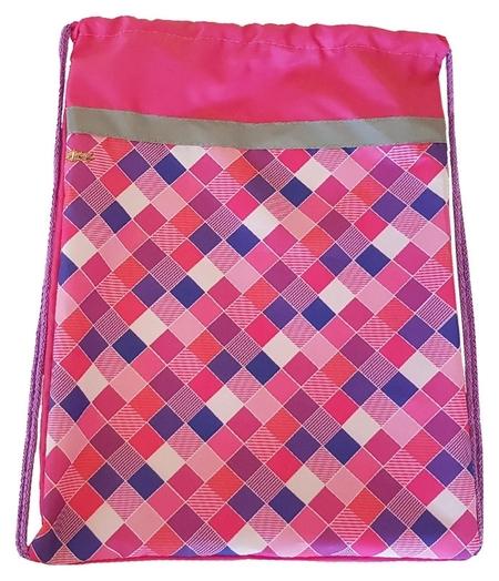 Мешок для обуви №1 School клетка розовая 370x470 со светоотражателем,мсо-5с  №1 School
