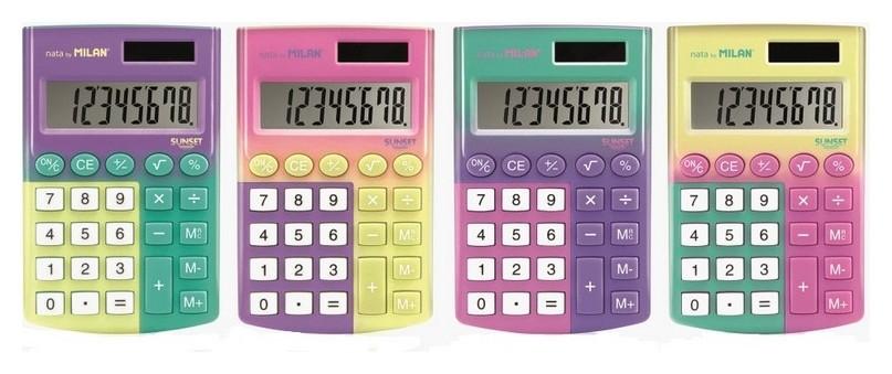 Калькулятор карманный Milan Sunset 8-разр дв. питание цвет в ассорт  Milan