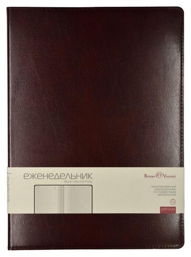 Еженедельник недатированный коричнев,a4,222х302мм,64л,br.v.profy  Bruno Visconti