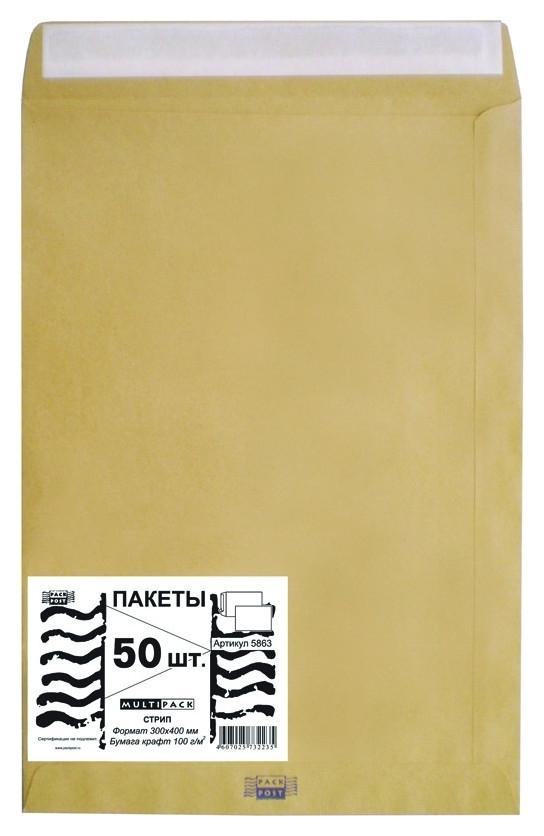 Пакет крафт E4 стрип Multipack 300х400 100г 50шт/уп/5863  Packpost