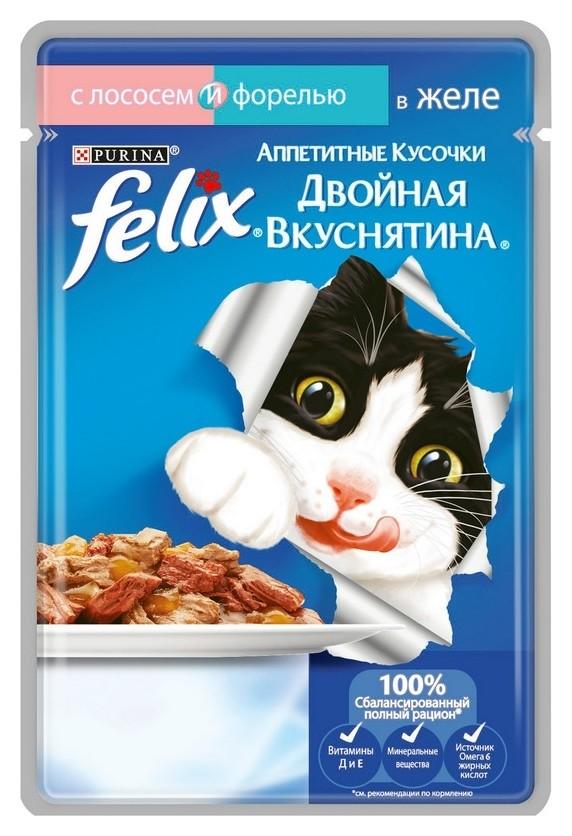 Корм влажный Felix Дв вкус для кошек с лососем и форел в желе, пауч,85гх24  Felix