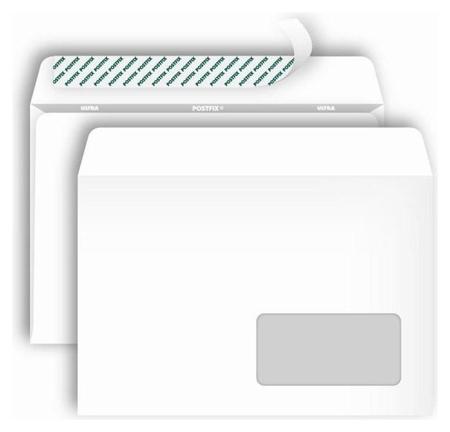 Конверты Postfix С5 стрип, пр.окно 162х229, 80г/м2, 1000шт/уп  Bong