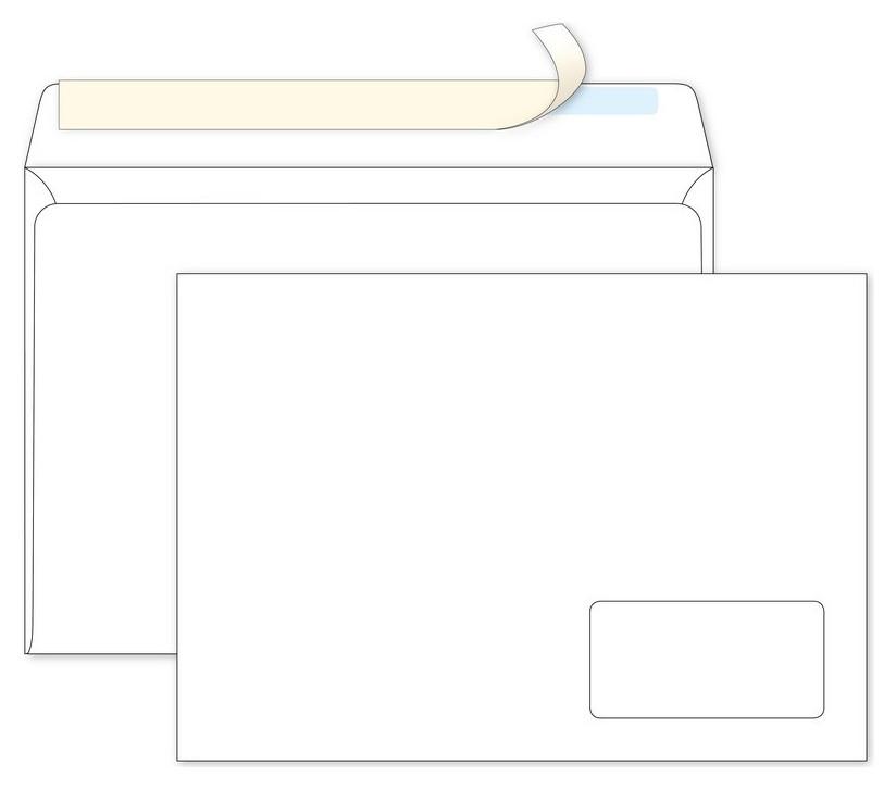 Конверты С4 Ecopost стрип прав.ниж окно (55x110) 90г/м2 250шт/уп  Packpost
