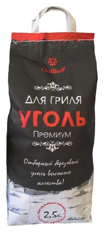 Уголь древесный для гриля премиум, пакет 2.5кг березовый отборный 27  Grillkoff