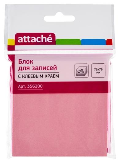 Блок-кубик Attache с клеев.краем 76х76 розовый 100л.  Attache