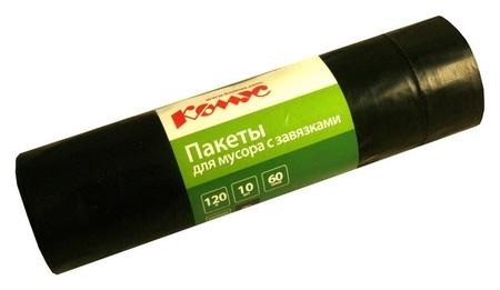 Мешки для мусора ПВД 120л 60мкм 10шт/рул черные 70х110см комус с завязками Комус