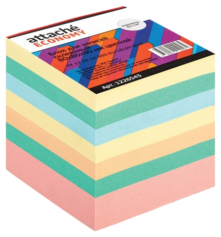 Блок для записей Attache Economy проклеенный 8х8х8, 5 цветов, 65 г  Attache
