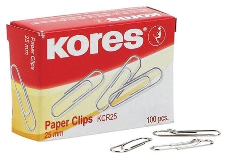 Скрепки Kores с отгибом, 25 мм, никелированне, 100 шт.в карт.уп  Kores