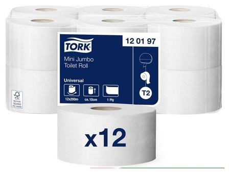 Бумага туалетная для дисп.tork Universal Т2 1сл бел втор 200м 12рул/уп 120197  Tork