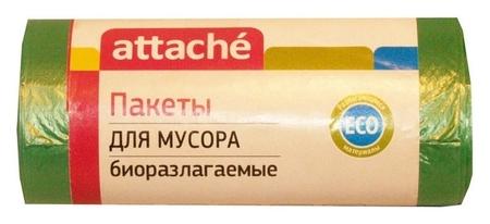 Мешки для мусора ПНД 60л 12мкм 30шт/рул зеленые 58x68см Attache Bio  Attache