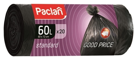 Мешки для мусора ПНД 60л 7,4мкм 20шт/рул черные 60x70см Paclan Standart  Paclan