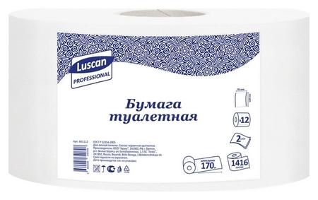 Бумага туалетная для дисп Luscan Professional 2слбелцелвтул170м 12рул/уп  Luscan
