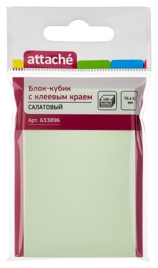 Блок-кубик Attache с клеев.краем 76х51 салатовый 100л.  Attache
