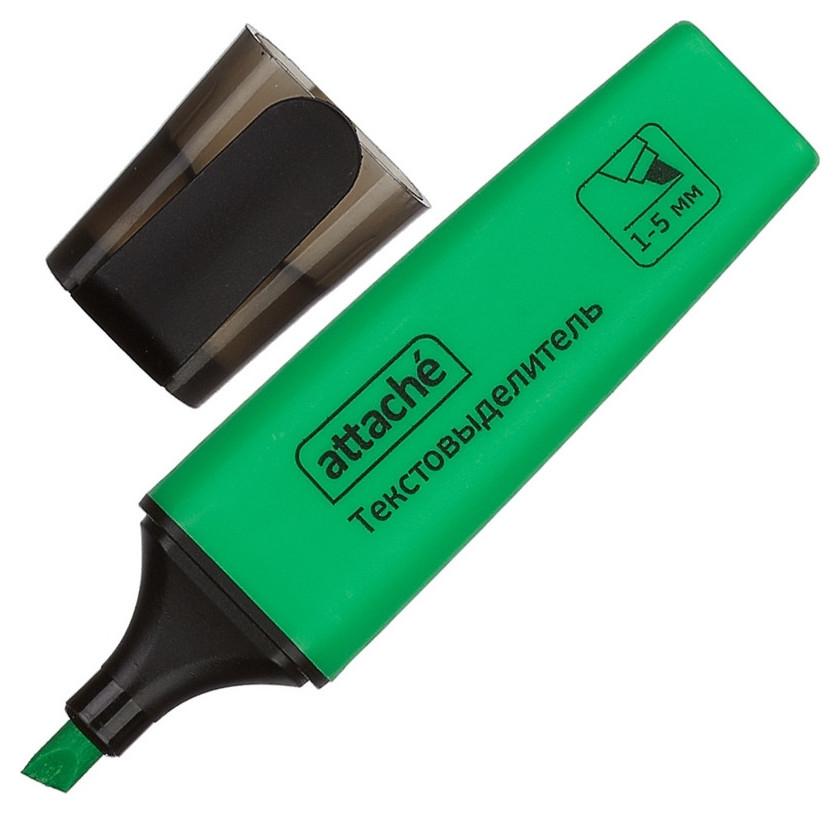 Маркер выделитель текста Attache Colored 1-5мм зеленый  Attache