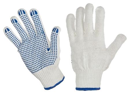 Перчатки защитные трикотажные ПВХ точка 6 нитей 62г 10 кл руч овер 10пар/уп  NNB