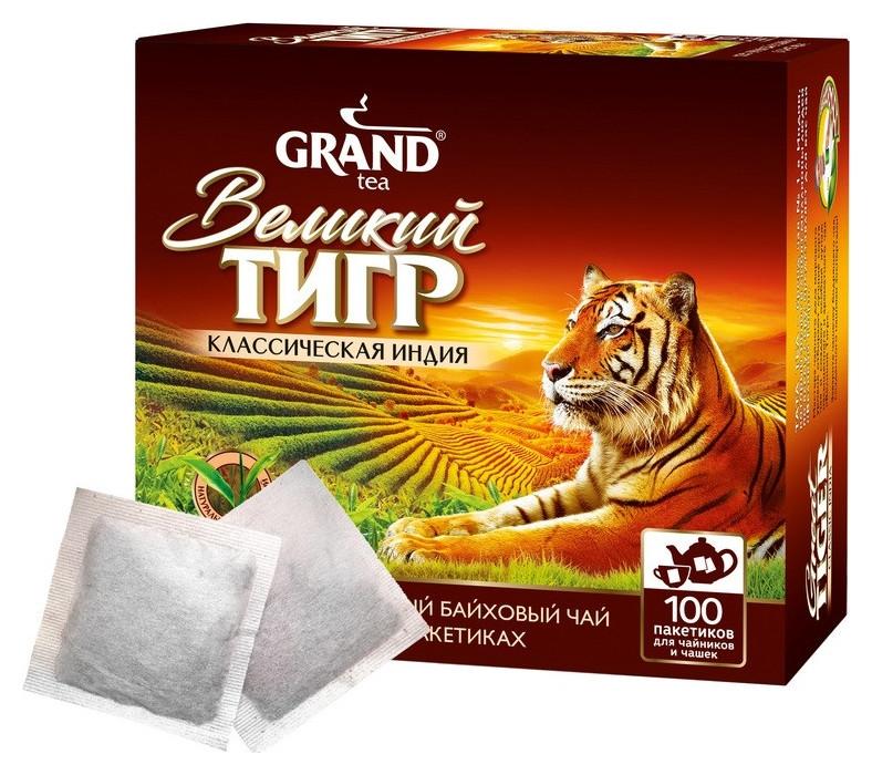 Чай великий тигр отборный Инд классич.чер.,100 пак.для чайных чашек 2210003  Grand