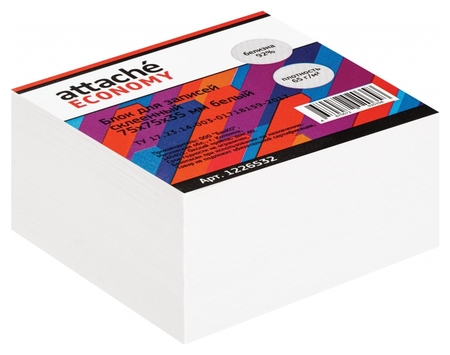 Блок для записей Attache Economy проклеенный 7,5х7,5х3,5, белый 65 г, 92  Attache