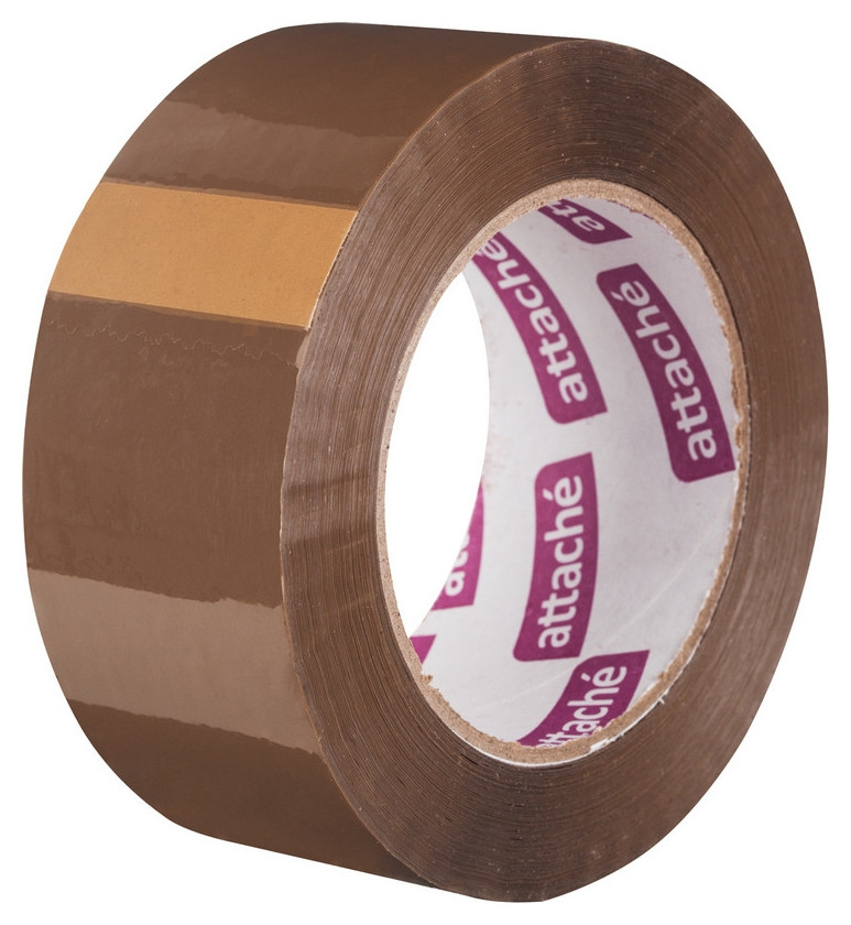 Клейкая лента упаковочная Attache 48мм х 132м 45мкм коричневая Attache