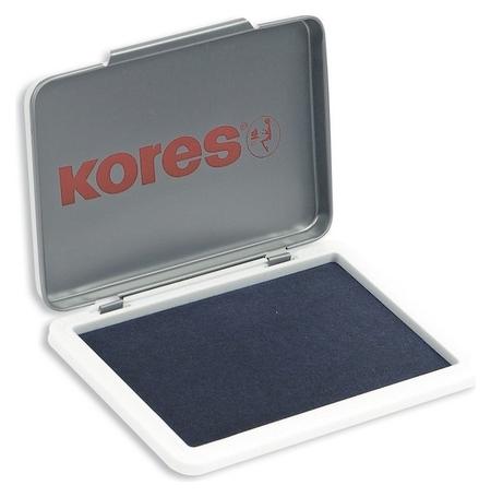 Подушка штемпельная настольная кores синяя 7х11см метал. 71551  Kores