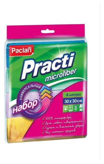 Салфетки хозяйственные микрофибра набор универсальные цветные 30х30см 4 шт  Paclan