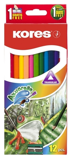 Карандаши цветные 12цв 3-гран,акварельные,кисть,точилка Kores 93812  Kores