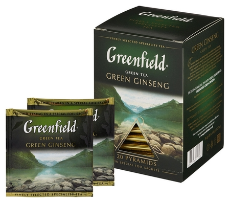 Чай Greenfield Green Ginseng зеленый фольгир. 20пак/уп 1156-08  Greenfield