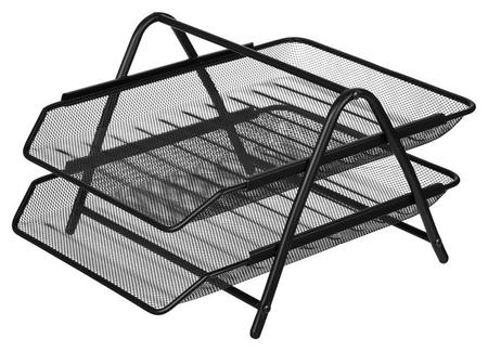 Лоток для бумаг Attache 2-х уровн.горизонт.металл сетка, 356x278x53м чёрный  Attache