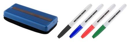 Набор принадл. для магнитно-маркерных досок, губка и 4 маркера  Attache