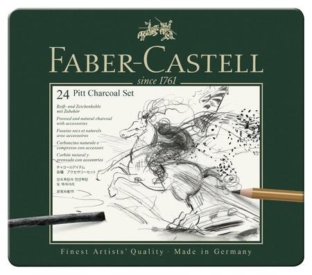 Набор угля и угольных карандашей Faber-castel Pitt Charcoal 24 пред, 112978  Faber-castell