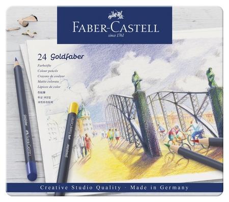 Карандаши цветные Faber-castell Goldfaber 24цв., круглые,метал.короб,114724  Faber-castell