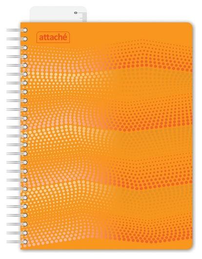 Бизнес-тетрадь Waves А5 100л. Attache клет,спир,пласт,заклад,цв.оранжевый  Attache