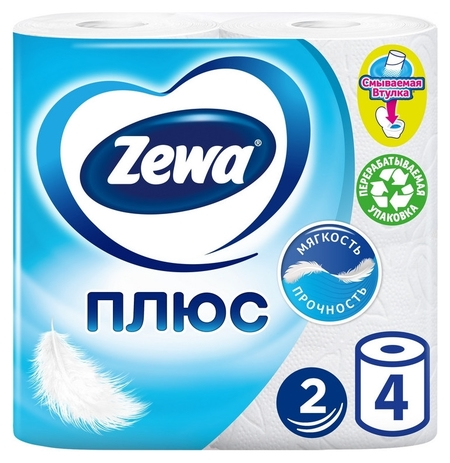 Бумага туалетная Zewa-plus 2сл бел втор втул 23м 184л 4рул/уп 2113-0 144051  Zewa