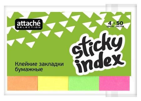 Клейкие закладки бумаж. 4цв.по 50л. 50ммх20 Attache Selection  Attache