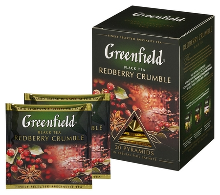 Чай Greenfield Redberry Crumble черный фольгир. 20пак/уп 1134-08  Greenfield