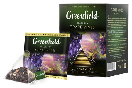 Чай Greenfield Grape Vines черн., 20пак, 1437-08  Greenfield