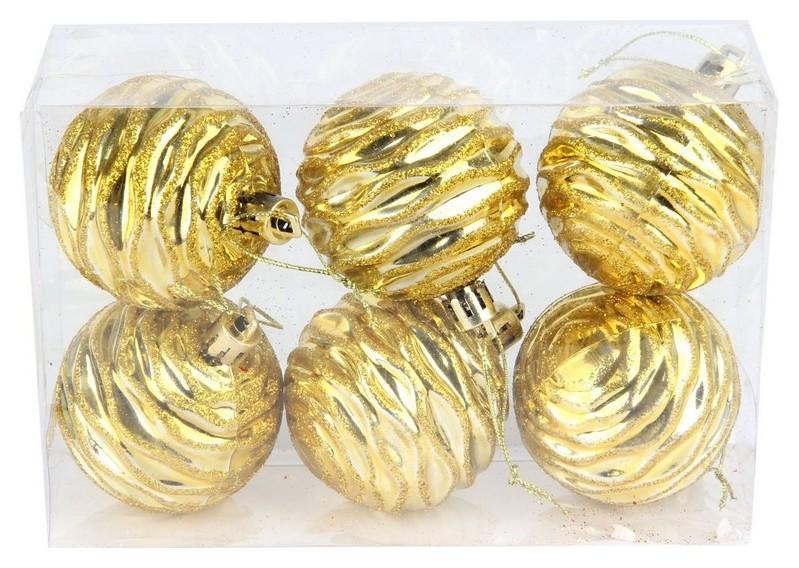 Набор из 6-ти пл шаров, рис., 6 см, цвет - золотой, ПВХ коробка 68837  NNB